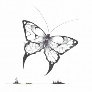 Butterfly by Bill Roy ink on paper  8.5″x 11″