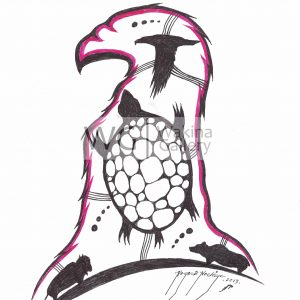 Turtle Island by Roger Noskiye ink  8.5″x 11″