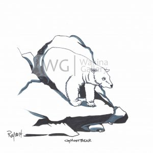 Ghost Bear by Bill Roy ink on paper  8.5″x 11″