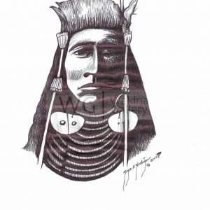 Big Chief by Roger Noskiye ink  8.5″x 11″
