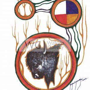 Yellow Circles Series 5 by Roger Noskiye ink  8.5″x 11″