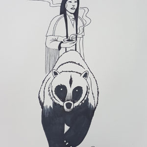 Sister Bear by Bill Roy original illustration ink on paper  8.5″x 11″
