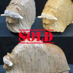 Small Brown Muskox – Original Soapstone Carving by Anthony Antoine – SOLD