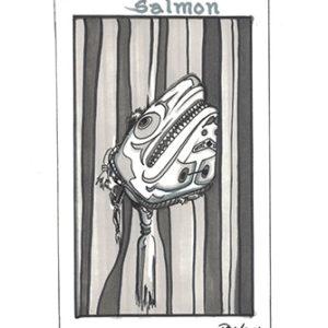 Salmon by Bill Roy original illustration ink on paper  8.5″x 11″