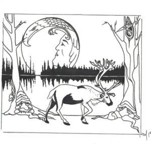 Under the Dene Moon by Bill Roy original illustration ink on paper  8.5″x 11″