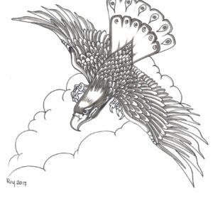 Soaring by Bill Roy original illustration ink on paper  8.5″x 11″