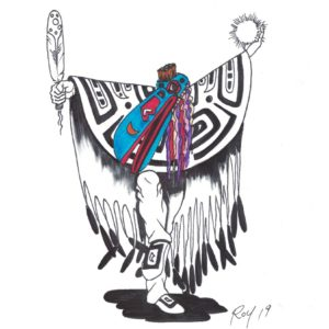 Shamanism by Bill Roy original illustration ink on paper  8.5″x 11″