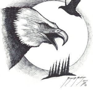 Eagles by Roger Noskiye ink  8.5″x 11″