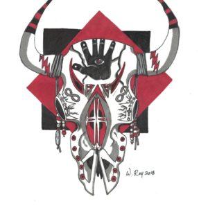 Skull Story by Bill Roy original illustration ink on paper  8.5″x 11″