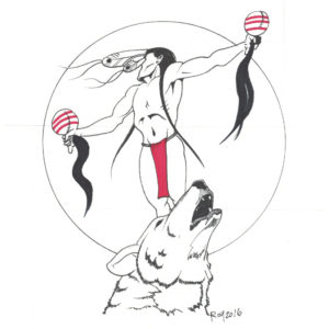 Call to the Wolf by Bill Roy original illustration ink on paper  8.5″x 11″