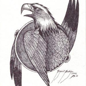 Eagle by Roger Noskiye ink  8.5″x 11″