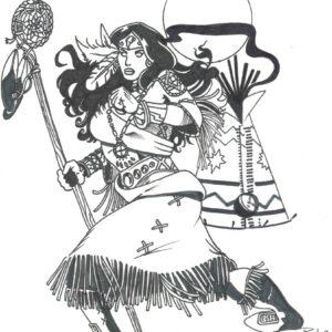 Diana by Bill Roy original illustration ink on paper  8.5″x 11″