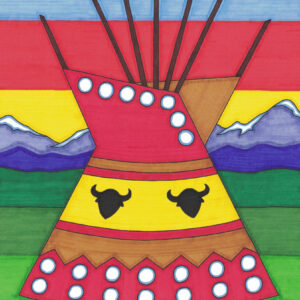 Tipi by Christopher Chambaud felt-tip on paperboard  8.5″x 11″