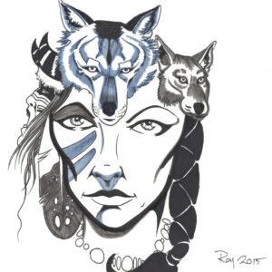 Wolves by Bill Roy original illustration ink on paper  8.5″x 11″