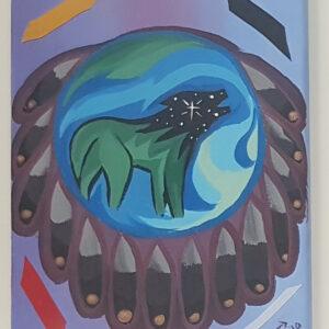 """Wolf Call"" by Scott Stonechild original painting on canvas 8″x 10″"