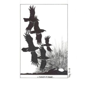A Murder of Crows by Bill Roy original illustration ink on paper  8.5x 11