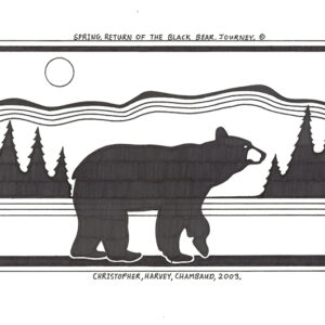 """Return of the Black Bear"" original illustration by Christopher Chambaud felt-tip on paperboard  8.5″x 11″"