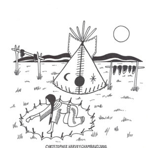 """Making Camp"" original illustration by Christopher Chambaud felt-tip on paperboard  8.5″x 11″"