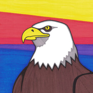 """Eagle Outpost"" original illustration by Christopher Chambaud felt-tip on paperboard  8.5″x 11″"