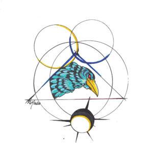 """Hidden Raven"" by Bill Roy original illustration ink on paper  8.5″x 11″"