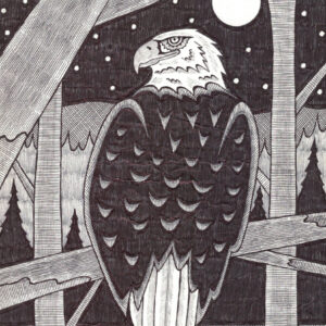Eagle by Christopher Chambaud ink on paper  8.5″x 11″