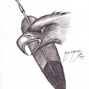 Eagle 2 by Roger Noskiye ink  8.5″x 11″